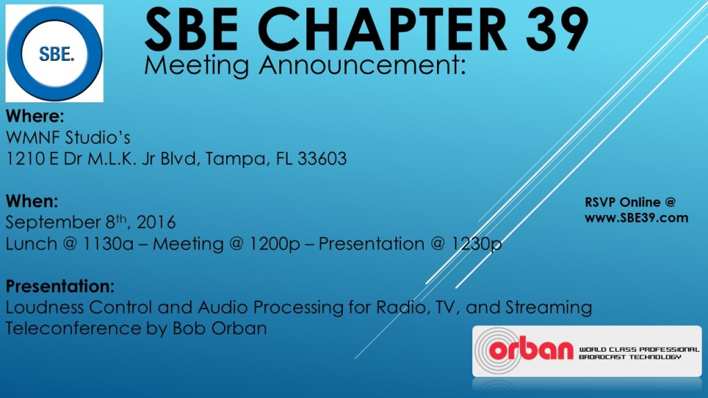 SBE Chapter 39 Meeting Announcement Sept 2016