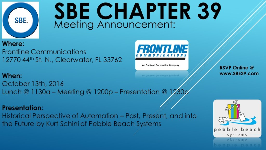 SBE Chapter 39 Meeting Announcement October 2016