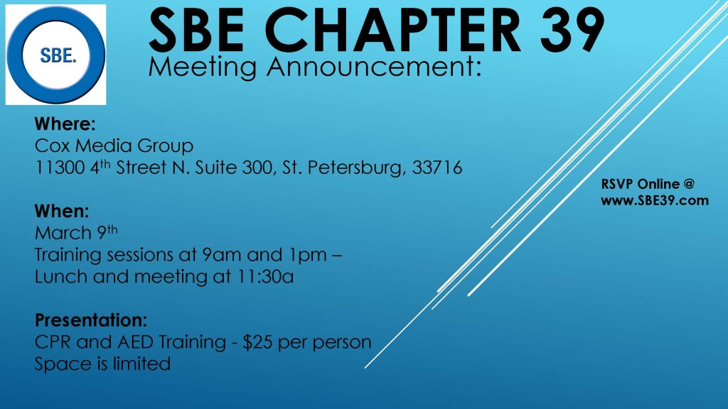 SBE Chapter 39 Meeting Announcement March 2017