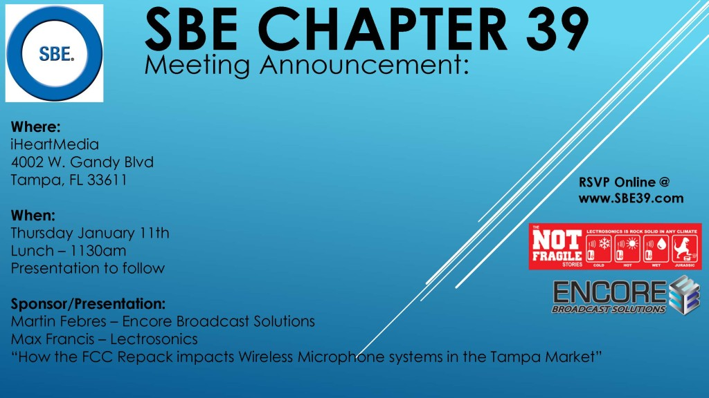 SBE Chapter 39 Meeting Announcement January 2018