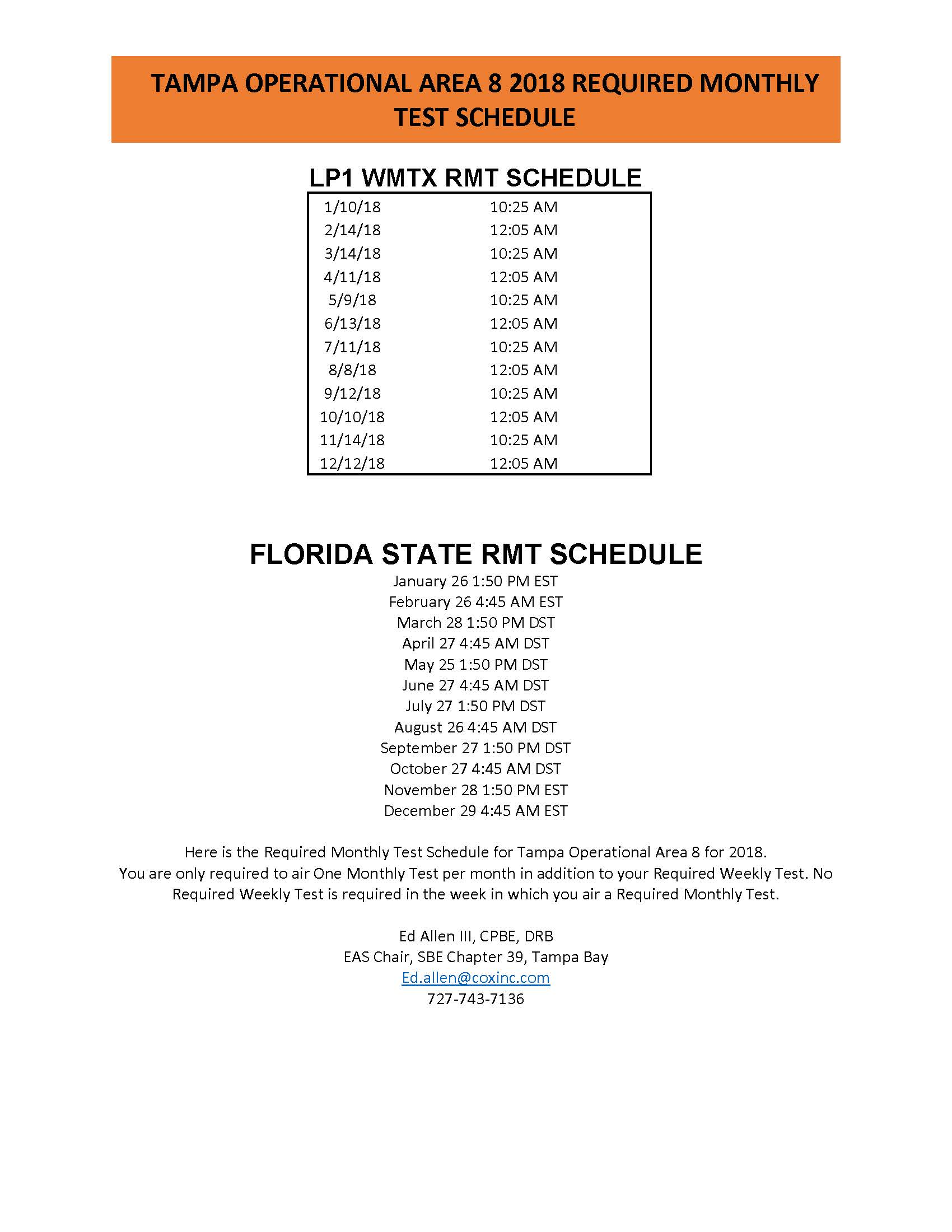2018 Tampa Operational Area 8 EAS RMT schedule rev2